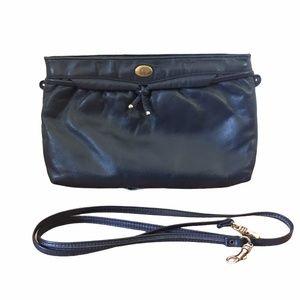 Vtg Etienne Aigner Navy Blue Leather Shoulder Bag
